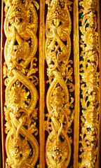 Window woodcarving in thai temple