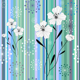 Fototapety Seamless white-blue floral striped pattern