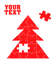 Red Christmas tree puzzle vector concept