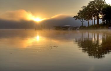 HDR of Sunrise Over Lake Okoboji