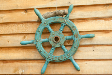 Old sea steering wheel