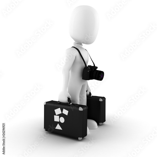 3d man tourist, on white background