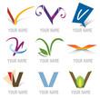 Ensemble d'Icones Lettre V pour Design Logos