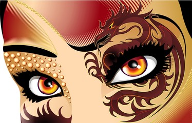 Occhi di Donna Drago-Dragon Woman Eyes-Vector