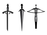 ancient weapons outline vector on white background poster