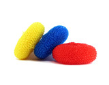 three nylon scrubbers