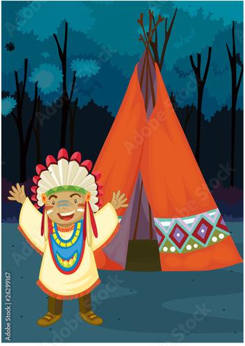 Fotobehang Indiërs A Boy Near Tent