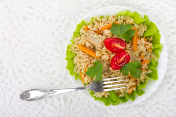 meat with vegetables and rice