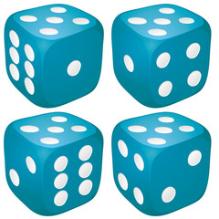 Set of blue casino craps, dices with five points, vector