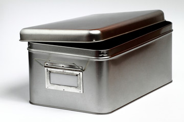 Open metal box