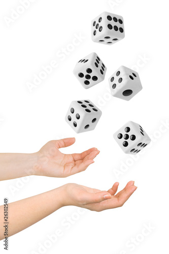 Hands throwing dices