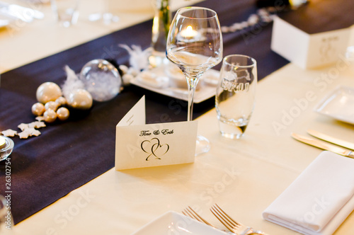 Wedding venue table for bride and groom