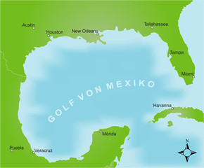 Karte Golf von Mexiko / vektor