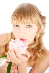 Blonde bride with flower
