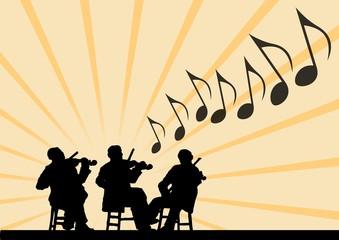 Silhouette Trio del violino. Giallo