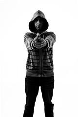 hoodi holding gun