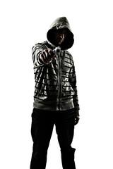 hoody holding gun