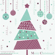 Christmas tree with ornaments, xmas card, violet design