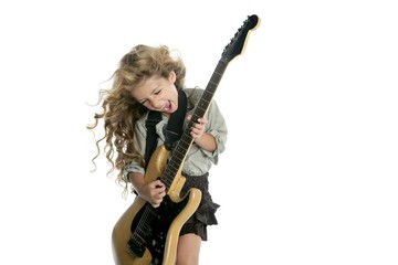 little blond girl playing electric guitar hardcore wind hair
