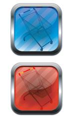 tasti blu e rosso con carrello