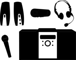 music equipmentsilhouette vector