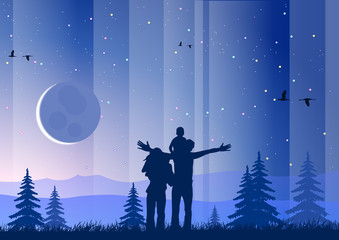 Happy family with moon and starry sky