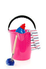 cleaning bucket tea towel cleaner isolated