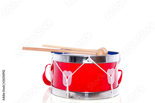 drum sticks on a red drum isolated - 26316942