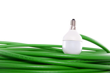a bulb connected on a green energy cable isolated over white