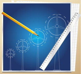 Wind generator blueprint vector background with pen