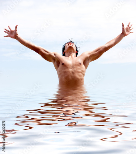 Man rising from water