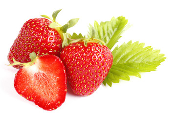 Strawberries on white background