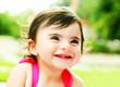 happy little girl closeup portrait