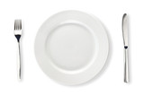 Fototapety Knife, white plate and fork isolated