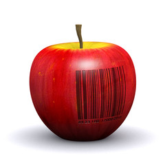 3d Apple with barcode stamped into it