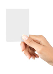 gesture of a beautiful woman's hand showing a white card