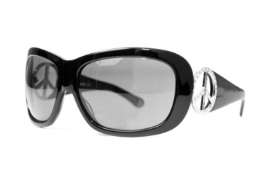 Black female sunglasses isolated on white