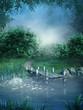 Niebieska sceneria z jeziorem i kładką