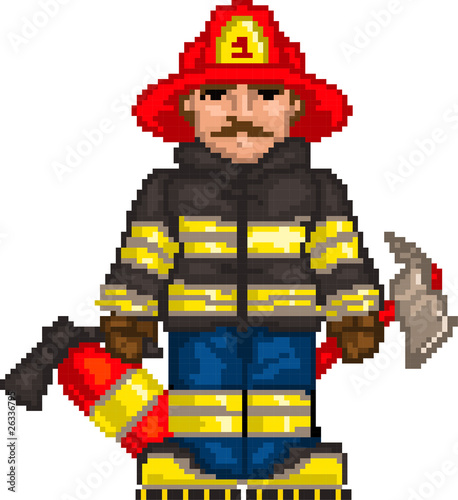 Foto op Canvas Pixel PixelArt: Firefighter