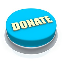 Donate round button 3d. Isolated on white.