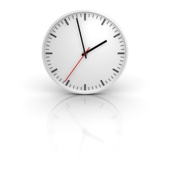 White clock with reflection. 3d rendered illustration.