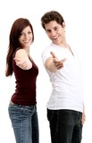 pleasant young couple (white background) poster