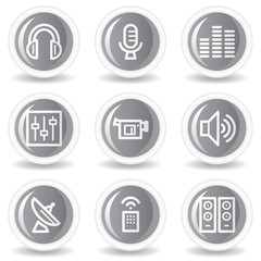 Media web icons, circle grey glossy buttons