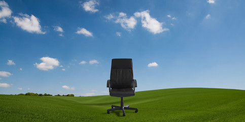office chair in countryside
