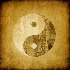 Grunge yin yang symbol background.