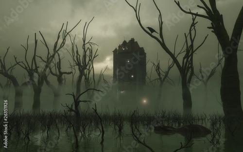 Leinwandbild Motiv Haunted Tower in the Swamp