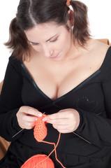 Portrait of pretty pregnant woman in black dress