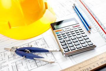 construction drawing and tools