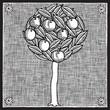 roleta: apple tree woodcut