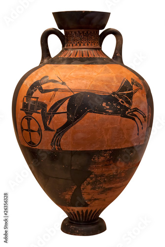 Fotobehang Athene Ancient greek vase depicting a chariot isolated on white